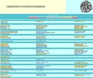 Übersicht der Kirchenbuchduplikate (gelb unterlegt = mit vorhandenen Transkriptionen)